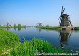 UNESCO WHS postcard Windmills at Kinderdijk