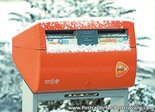 Postcard Dutch mailbox in the snow