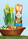 Easter bunny with easter eggs postcard
