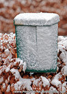 Green mailbox in the snow postcard