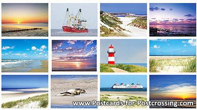 Postcard set beach and sea
