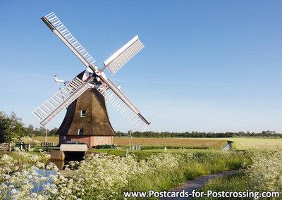 Postcard mill the Eendracht in Sebaldeburen