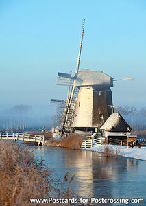 Postcard mill in winter