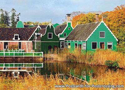 Postcard Koopmanswoningen in autumn