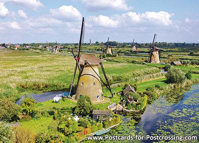 UNESCO WHS postcard mills from Kinderdijk
