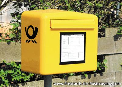 Postcard mailbox German post