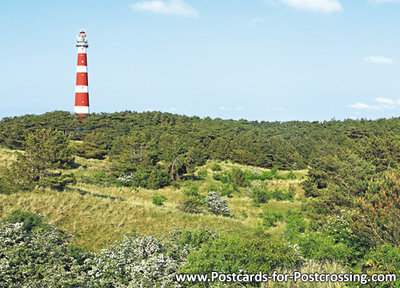 Postcard lighthouse Bornrif on Ameland