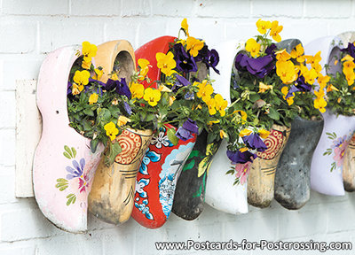 Postcard clogs with flowers