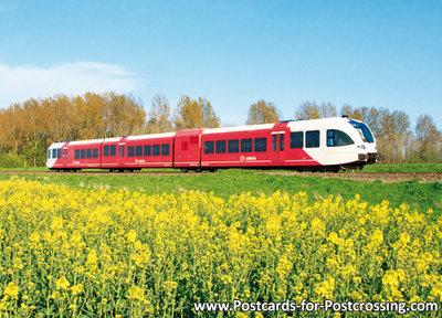 Postcard Arriva train with rapeseed field
