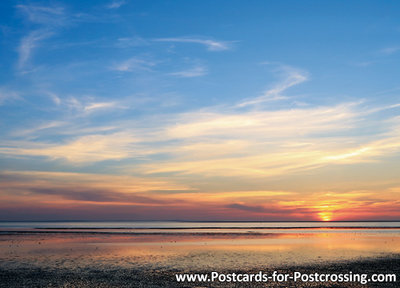 UNESCO WHS postcardSunrise Wadden sea