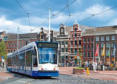 Postcard Amsterdam tram on Muntplein