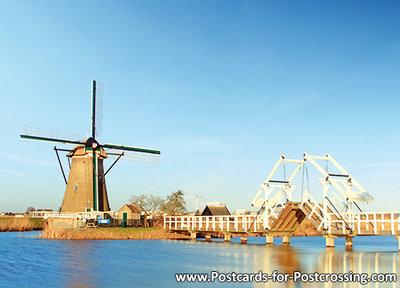 UNESCO WHS postcardMill with bridge in Kinderdijk