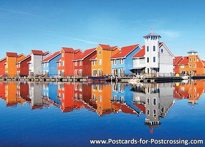 Postcard Reitdiep port in Groningen