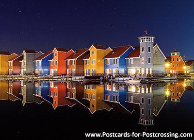 Postcard Reitdiep port at night