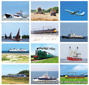 Transport vehicles postcard set