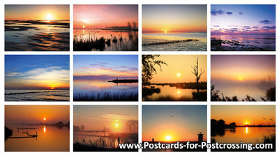 Postcard set sunrise and sunset