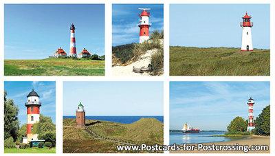 German lighthouses postcard set