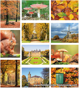 Autumn postcard set
