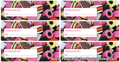 Postcrossing ID sticker NL - Liquorice allsorts
