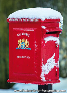 Red mailbox in the snow postcard