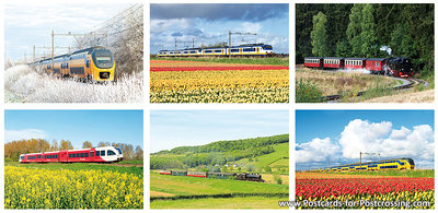 Trains postcards set