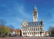 Postcard town hall Middelburg