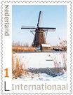 Postzegels 5 x Internationaal kinderdijk in de winter