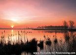 Ansichtkaart zonsopkomst Leekstermeer, postcard sunrise Leekstermeer, Postkarte Sonnenaufgang Leekstermeer