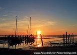 Ansichtkaart zonsopkomst Waddenzee, postcard sunrise Wadden sea, Postkarte Sonnenaufgang Wattenmeer Unesco WHS