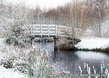 ansichtkaart bruggetje in de winter - Eernewoude, bridge in winter, Brücke im Winter