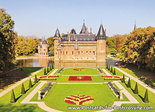 Herfstkaarten, ansichtkaart kasteel de Haar Utrecht - Haarzuilens, postcardcastle de Haar, Postkarte Schloss de Haar