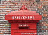 Ansichtkaart rode brievenbus, red mailbox postcard, Rote Briefkasten postkarte
