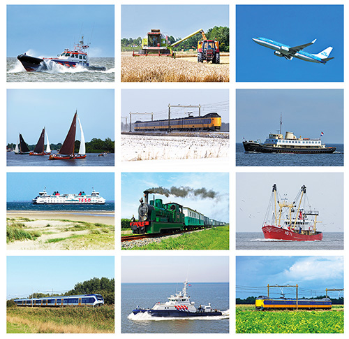 Postcard set transport vehicles