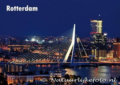 Ansichtkaart ErasmusbrugRotterdam, postcard Erasmus bridge Rotterdam, Postkarte Erasmus brücke Rotterdam