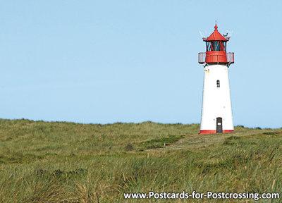 ansichtkaartvuurtoren List west Sylt, postcard lighthouse List west Sylt, postkarte leuchtturm List west Sylt