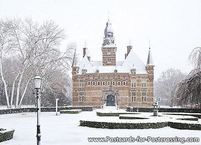 ansichtkaart kasteel Wijchen in de winter, postcard castle Wijchen in winter, Postkarte Schloss Wijchen im Winter