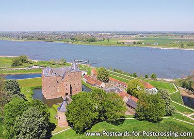 ansichtkaart kasteel Slot Loevestein in Poederoijen, postcardcastle Loevestein, Postkarte Schloss Loevestein