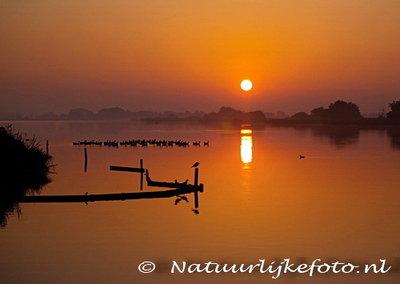 Ansichtkaart Leekstermeer kaart, postcard sunrise Leekstermeer, Postkarte Sonnenaufgang Leekstermeer