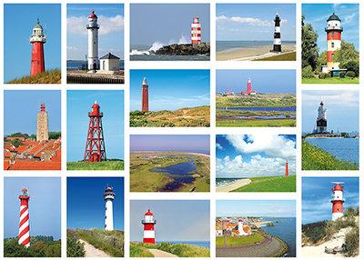 ansichtkaartenset vuurtorens - Postcard set Lighthouses - Postkarten Set Leuchttürme