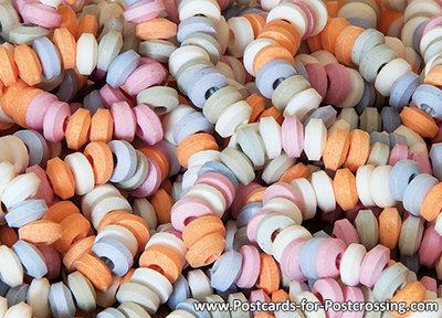 ansichtkaart snoepkettingen, postcard candy chains, Postkarte Süßigkeiten Ketten