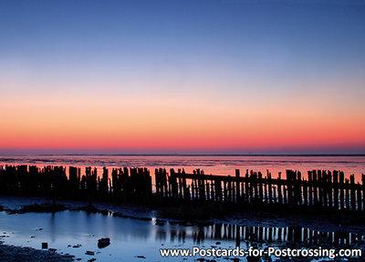 Ansichtkaart zonsondergang Paesens, postcardsunset Paesens, Postkarte Sonnenuntergang Paesens