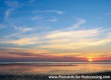 Ansichtkaart zonsopkomst Waddenzee, postcard sunrise Wadden sea, Postkarte Sonnenaufgang Wattenmeer