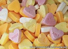 Ansichtkaart Snoep Vruchtenhartjes, postcard Fruit hearts candy, Postkarte Fruchtherzen Süßigkeiten